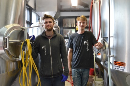 Sharing their passion and craft, from left: Andy Westby, lab guy, and Matt Stanley, brewer